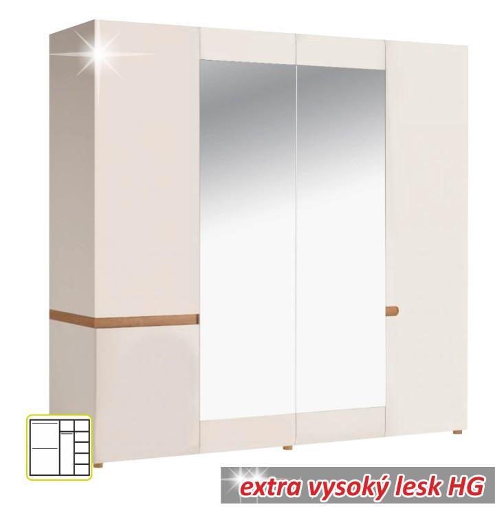 4 ajtós szekrény, fehér - extra magas fényű HG/sonoma tölgyfa, LYNATET 23 TÍPUS