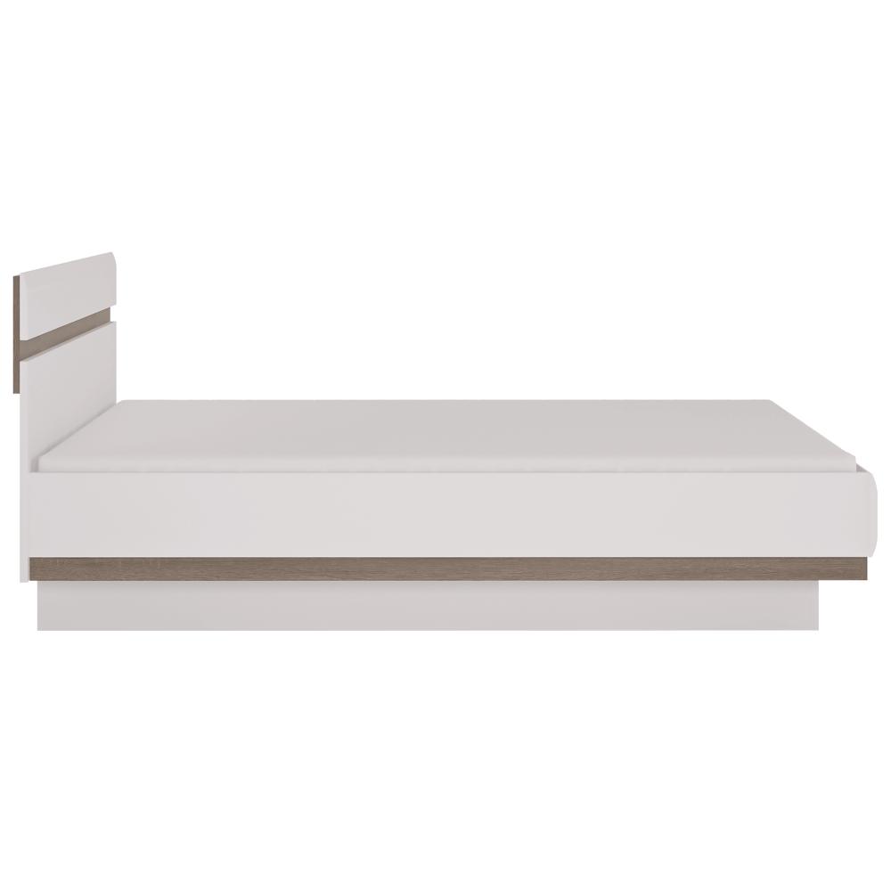 Postel 140, bílá extra vysoký lesk HG / dub sonoma tmavý truflový, LYNATET TYP 91, TEMPO KONDELA