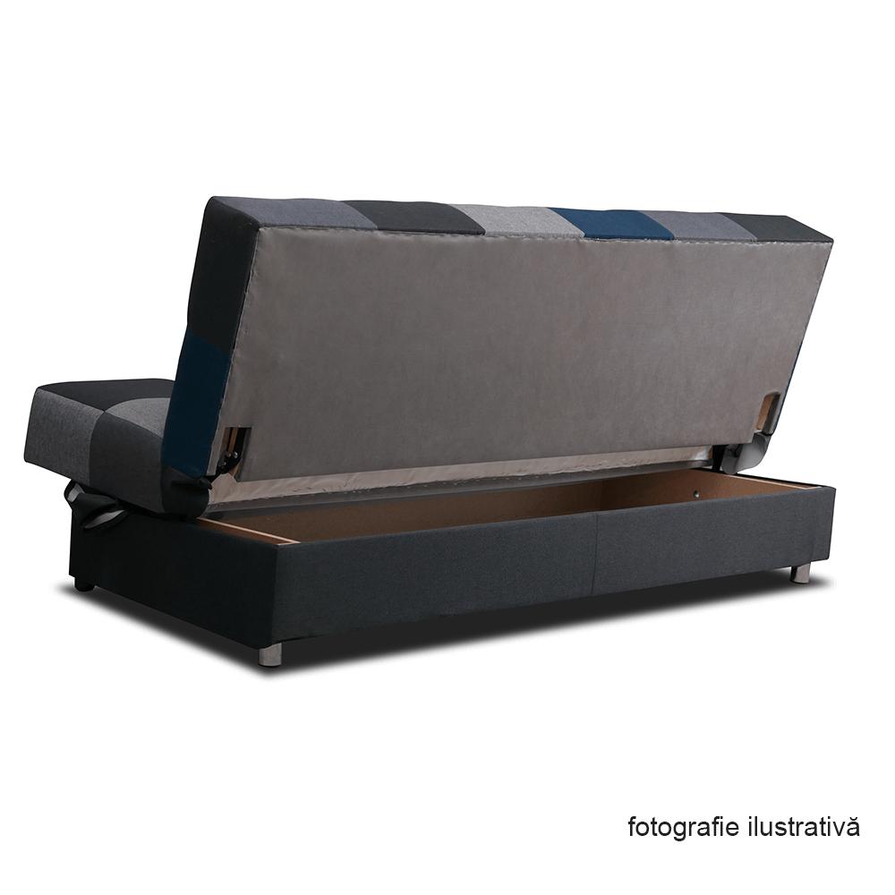 Canapea extensibila cu spatiu depozitare Malmo Galben/Gri