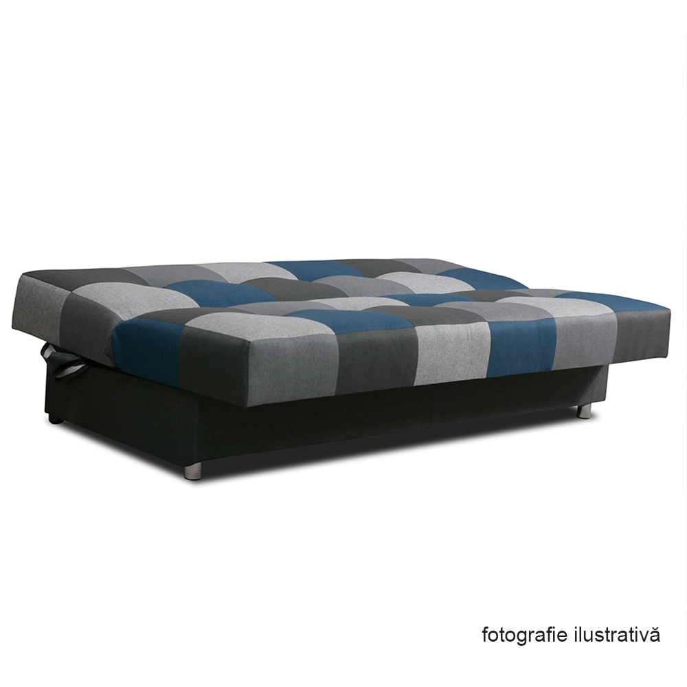 Canapea extensibila cu spatiu depozitare Malmo Visiniu/Gri