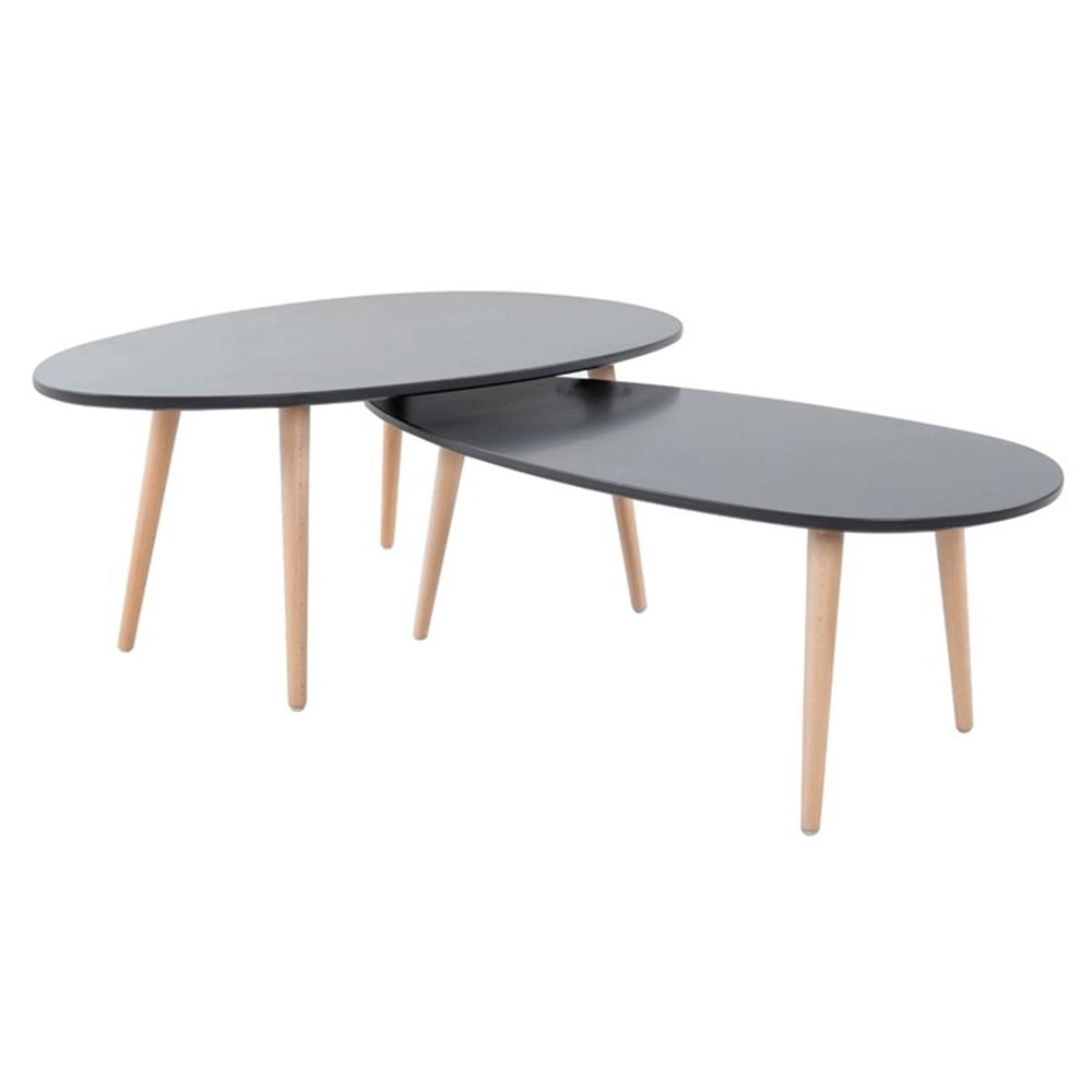 Konferenčné stolíky, set 2 ks, sivá/sivá, DOBLO