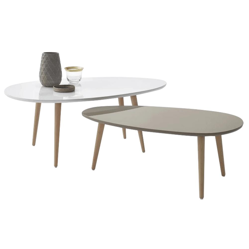 Konferenčné stolíky, set 2 ks, biela/sivá, DOBLO