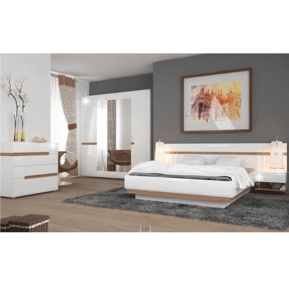 Noční stolek, bílá extra vysoký lesk HG / dub sonoma tmavý truflový, LYNATET TYP 95, TEMPO KONDELA