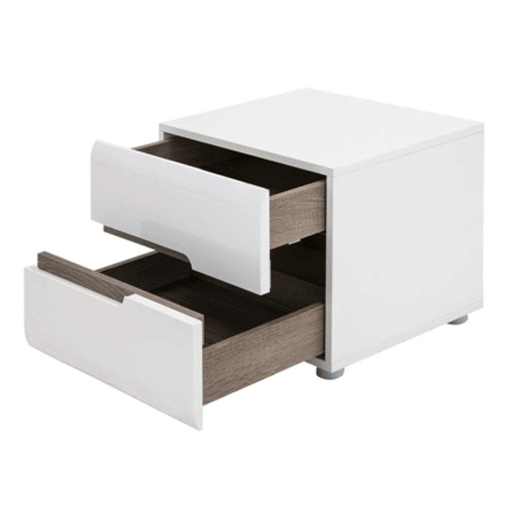 Noční stolek, bílá extra vysoký lesk HG / dub sonoma tmavý truflový, LYNATET TYP 96, TEMPO KONDELA