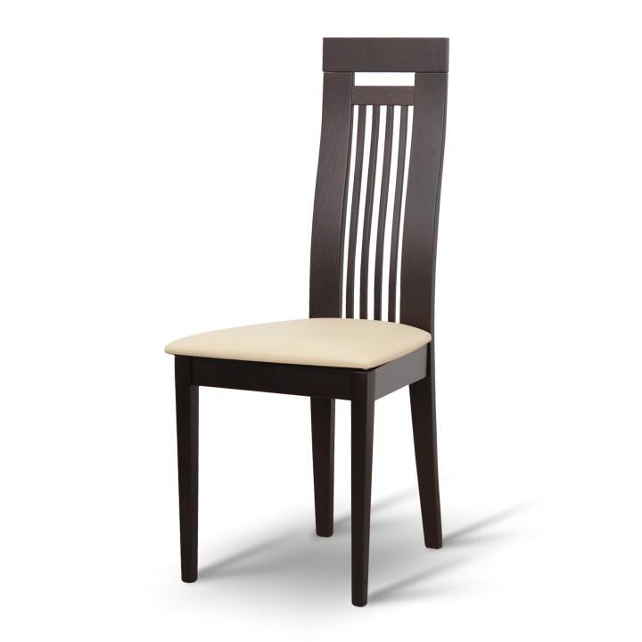 Drevená stolička, wenge/ekokoža béžová, EDINA