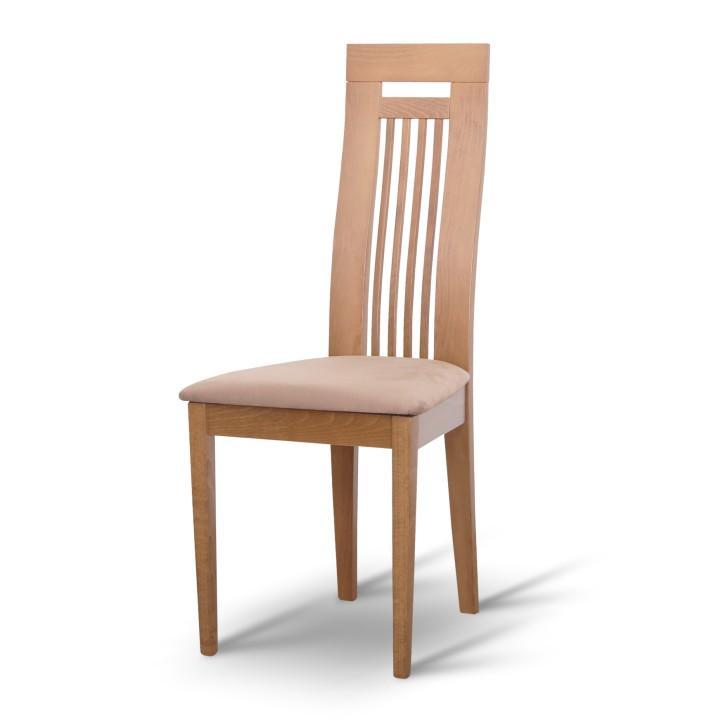 Magas étkező szék, tölgyfa/barna szövet, EDINA