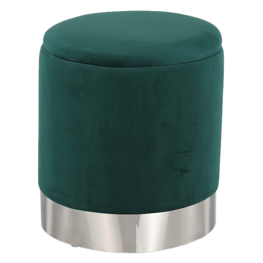 Taburet, zelená Velvet látka/stříbrná chrom, DARON