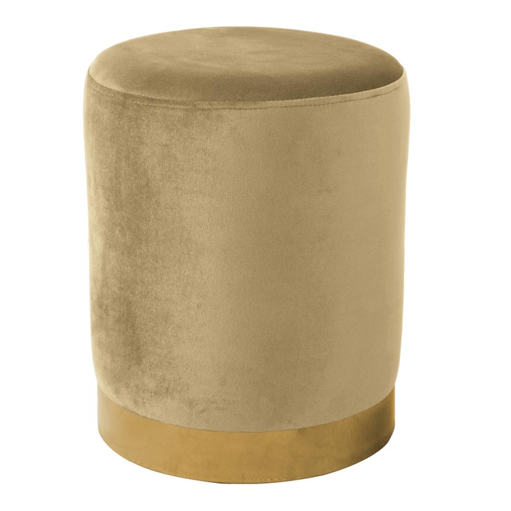 Puff, bézs Velvet anyag/gold króm-arany, ALAZ