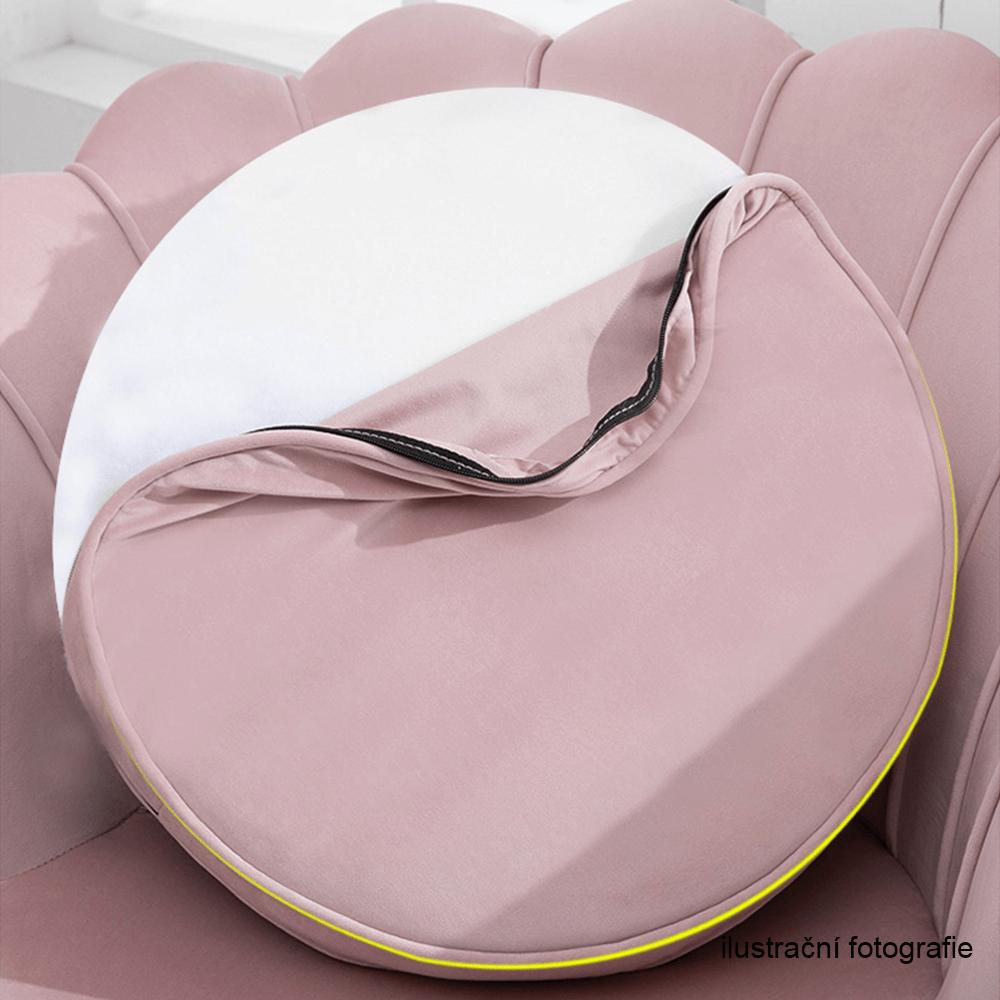 Lavice ve stylu Art-deco, růžová Velvet látka / gold chrom-zlatý, NOBLIN