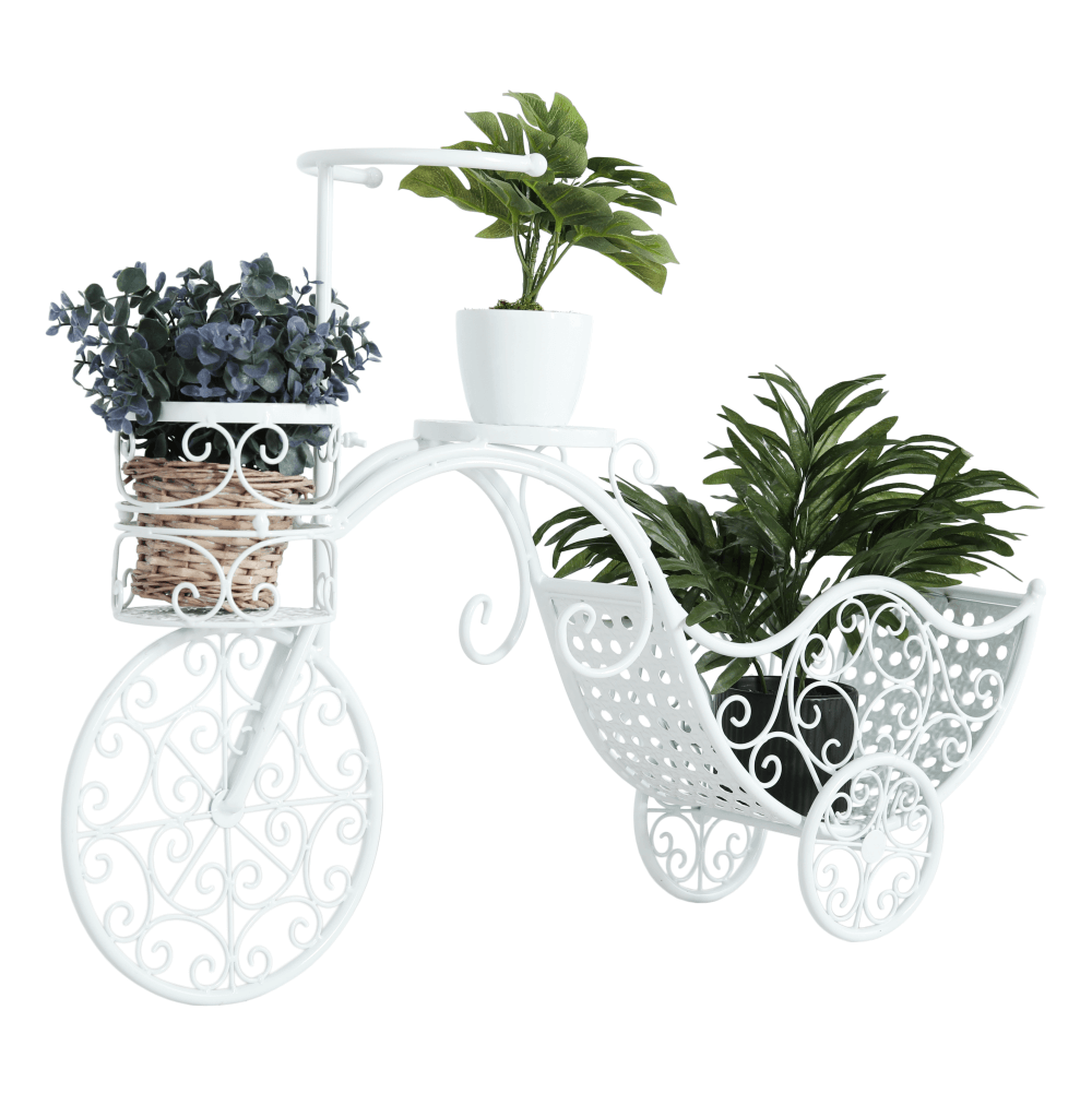 Ghiveci de flori RETRO în formă de bicicletă, alb, ALENTO