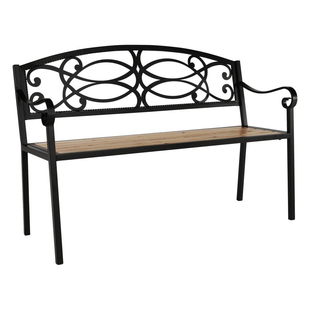 Záhradná lavička, čierna/prírodná, ROTINA
