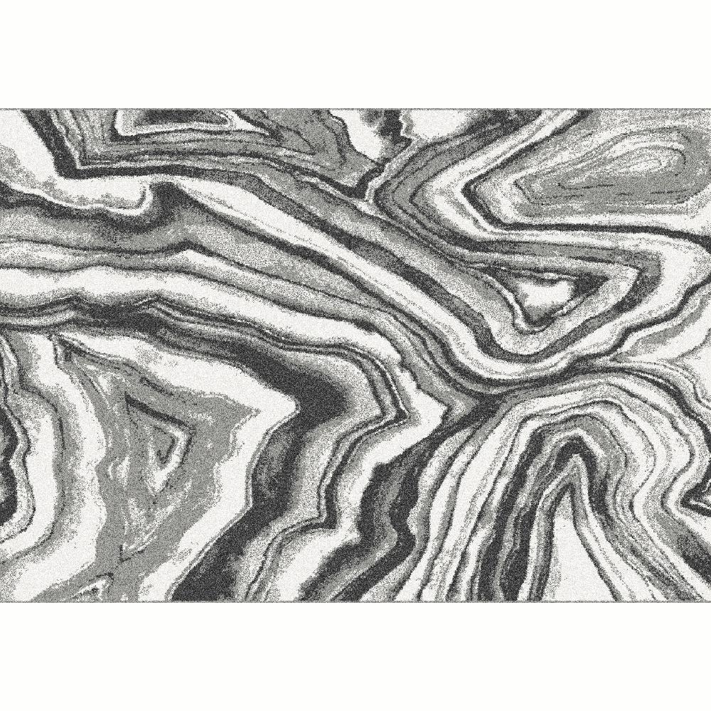 Koberec,  biela/čierna/vzor, 100x150, SINAN