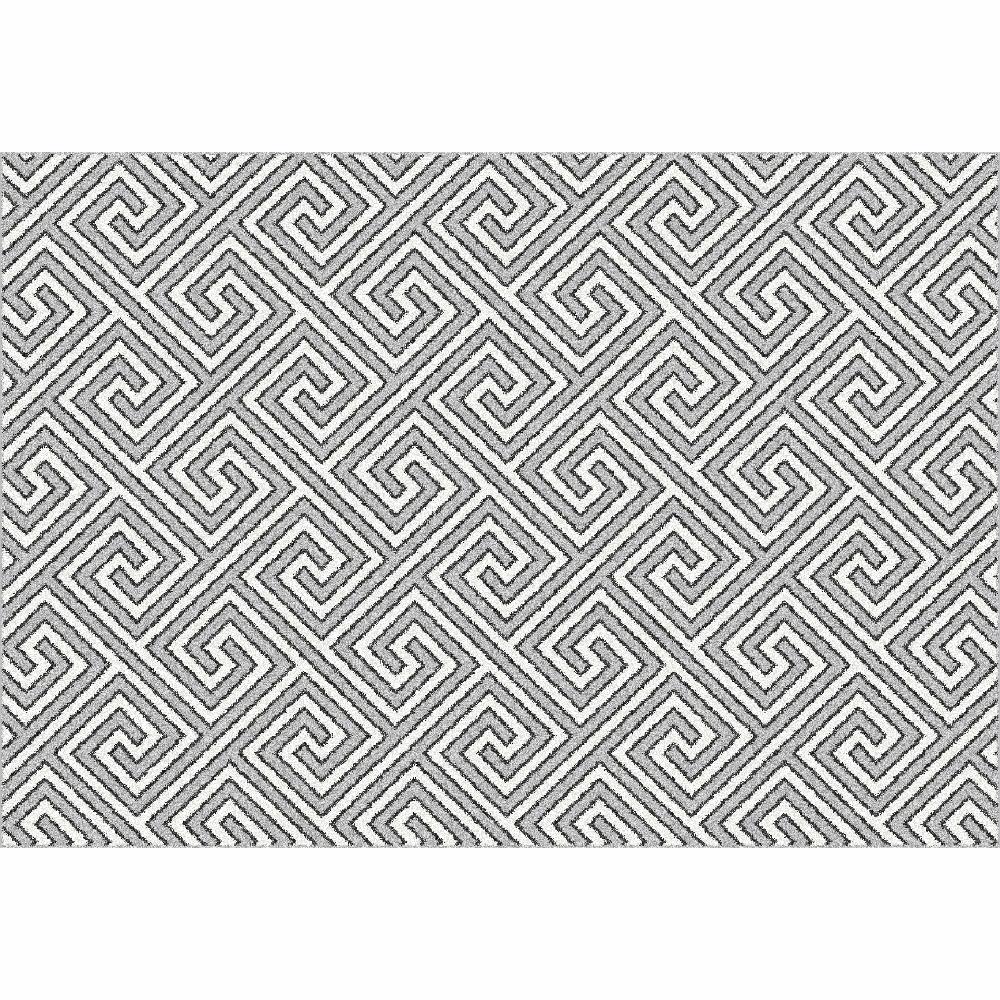 Koberec, bílá/šedá/vzor, 100x150, GADIR