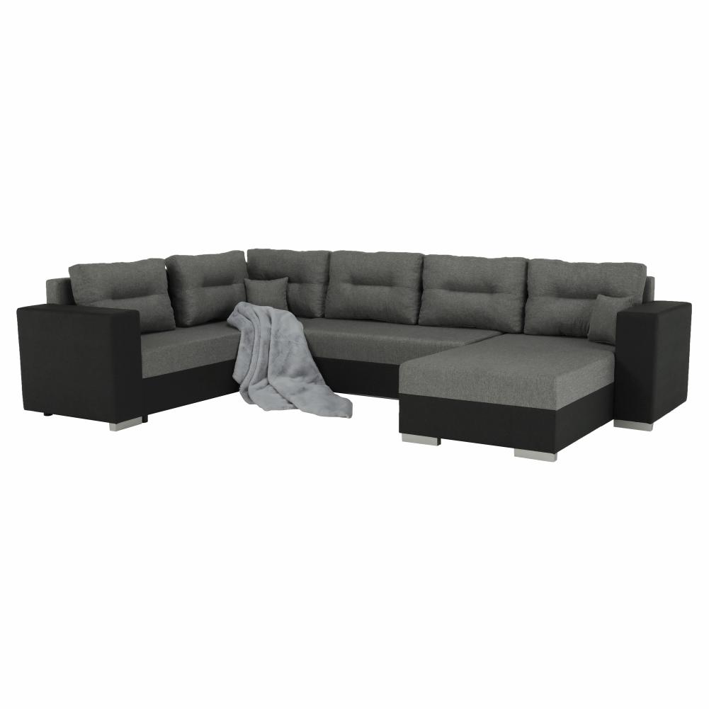 Coltar ,canapea universala reversibila,extensibil, stofa,96 gri închis / 90 gri, 314x75/85x153/211 cm, Anisia 12