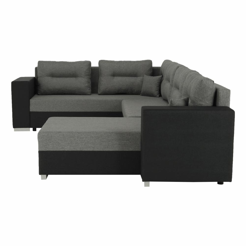 Coltar ,canapea universala reversibila,extensibil, stofa,96 gri închis / 90 gri, 314x75/85x153/211 cm, Anisia 6