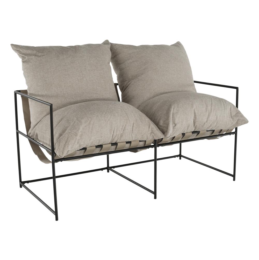 Dupla ülés-fotel, bézs/fekete, DEKER