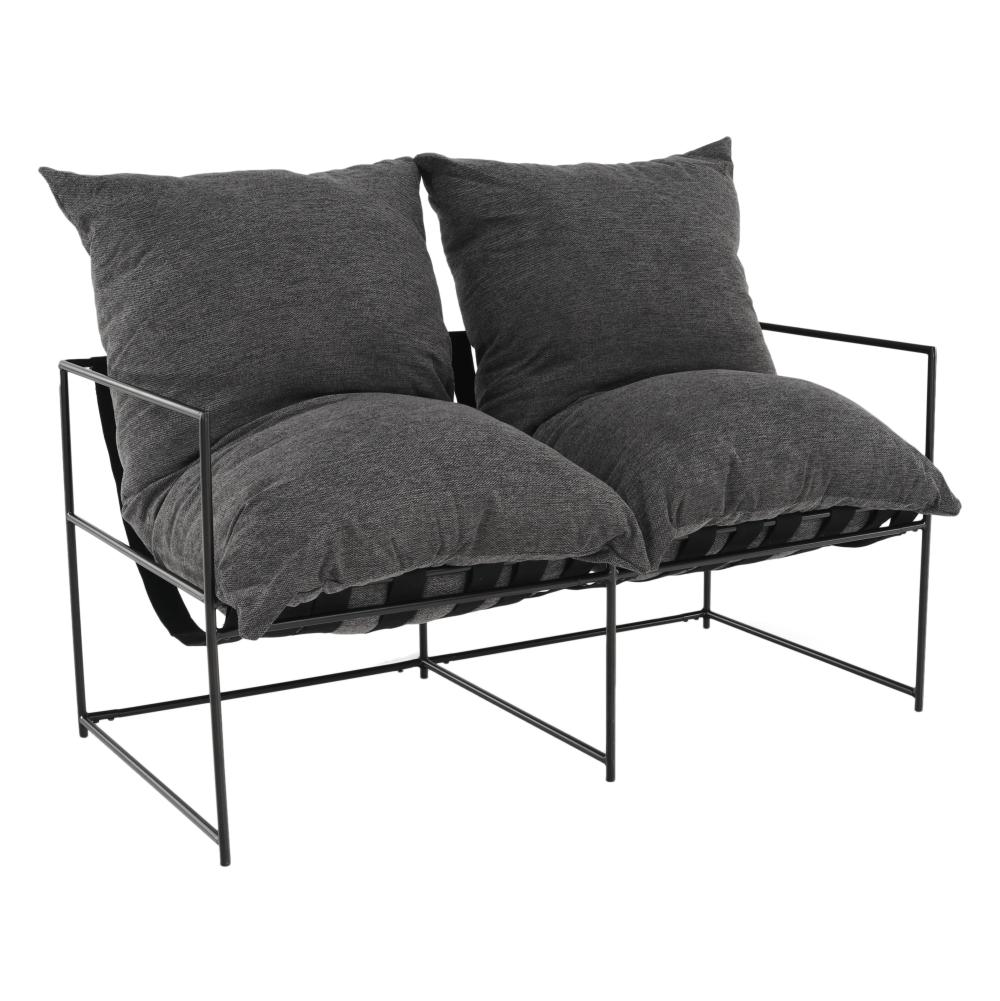 Moderní 2-sed, šedá/černá, DEKER