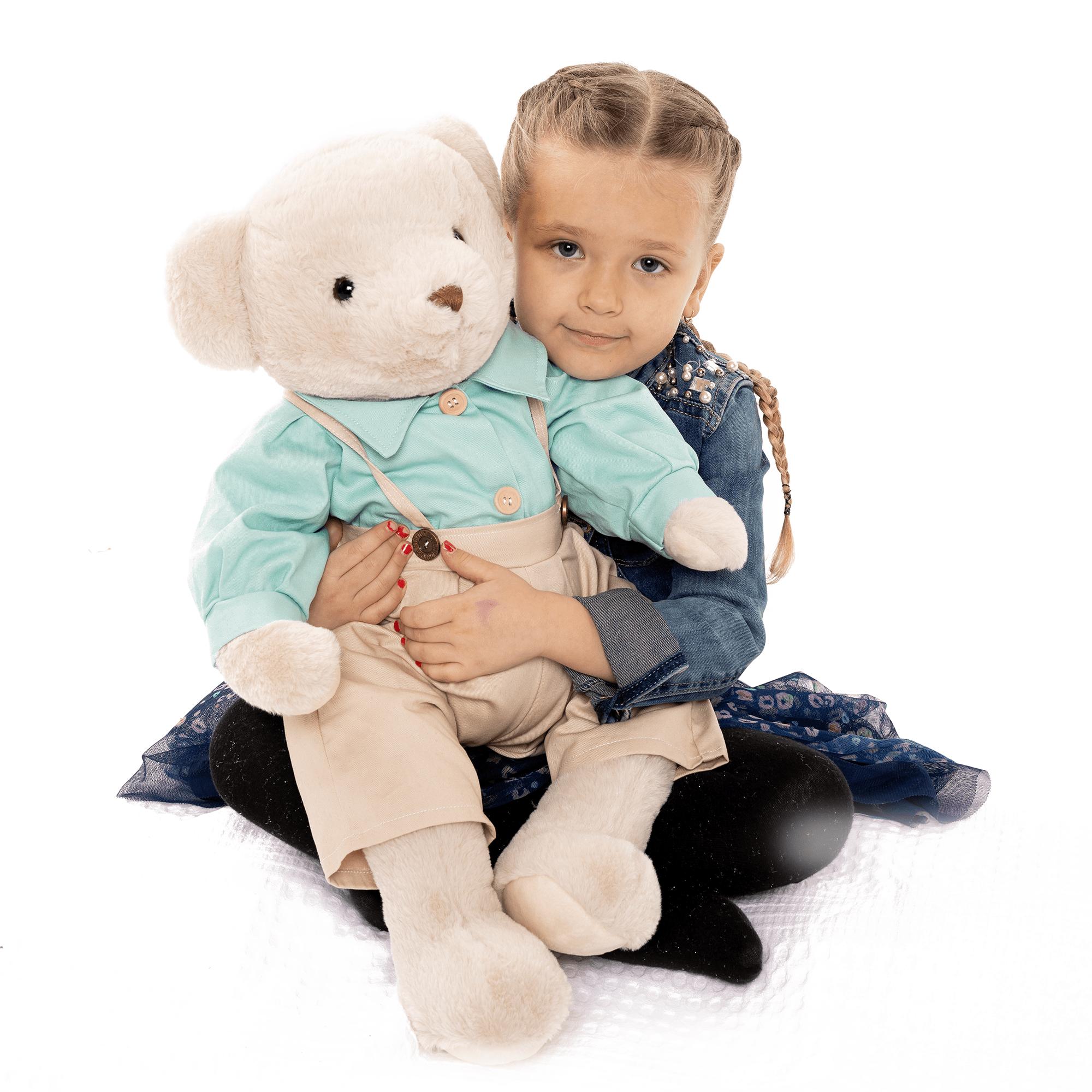 Plyšový medveď, smotanová/modrá, 65cm, MADEN BOY TYP2
