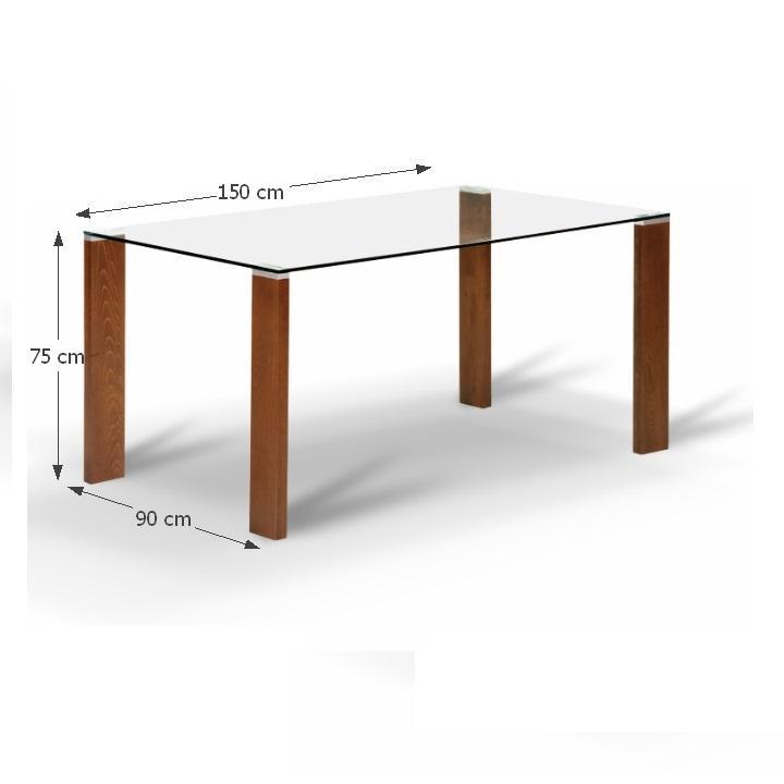Jedálenský stôl, s tvrdeným sklom 12 mm, čerešňa, NEMEZ