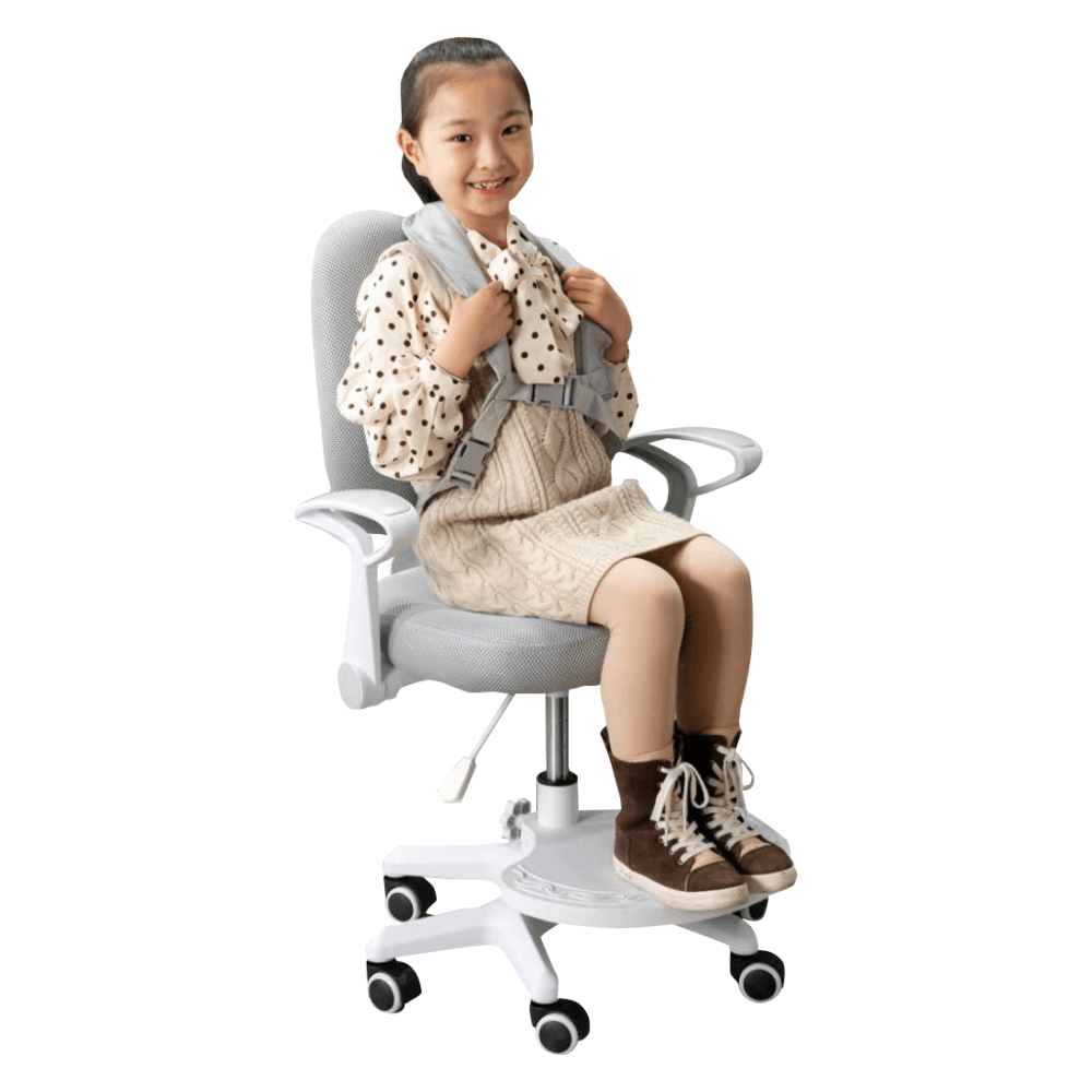 Rostoucí židle s podnoží a šlemi, šedá/bílá, ANAIS