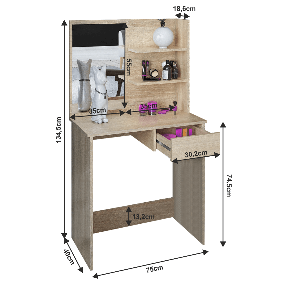 Măsuţă de toaletă/toaletă stejar sonoma, BELEZA
