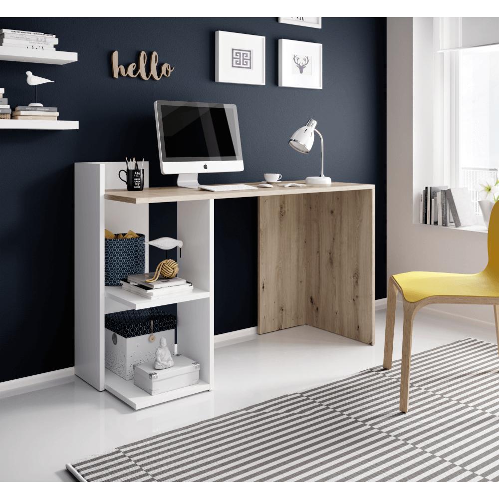 Masa PC,birou, stejar artisan/alb mat, ANDREO 2