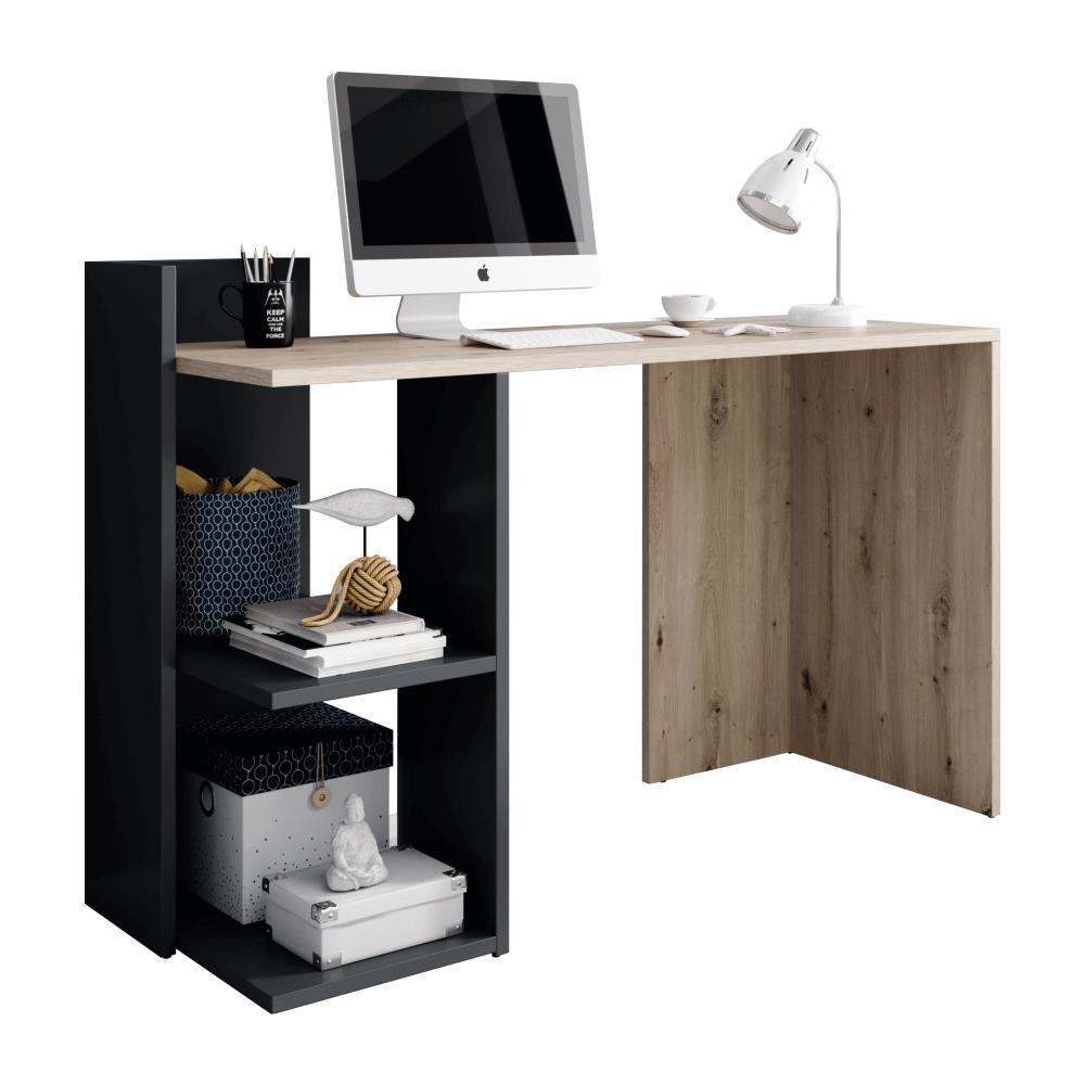 PC stůl, dub artisan/grafit-antracit, ANDREO, TEMPO KONDELA