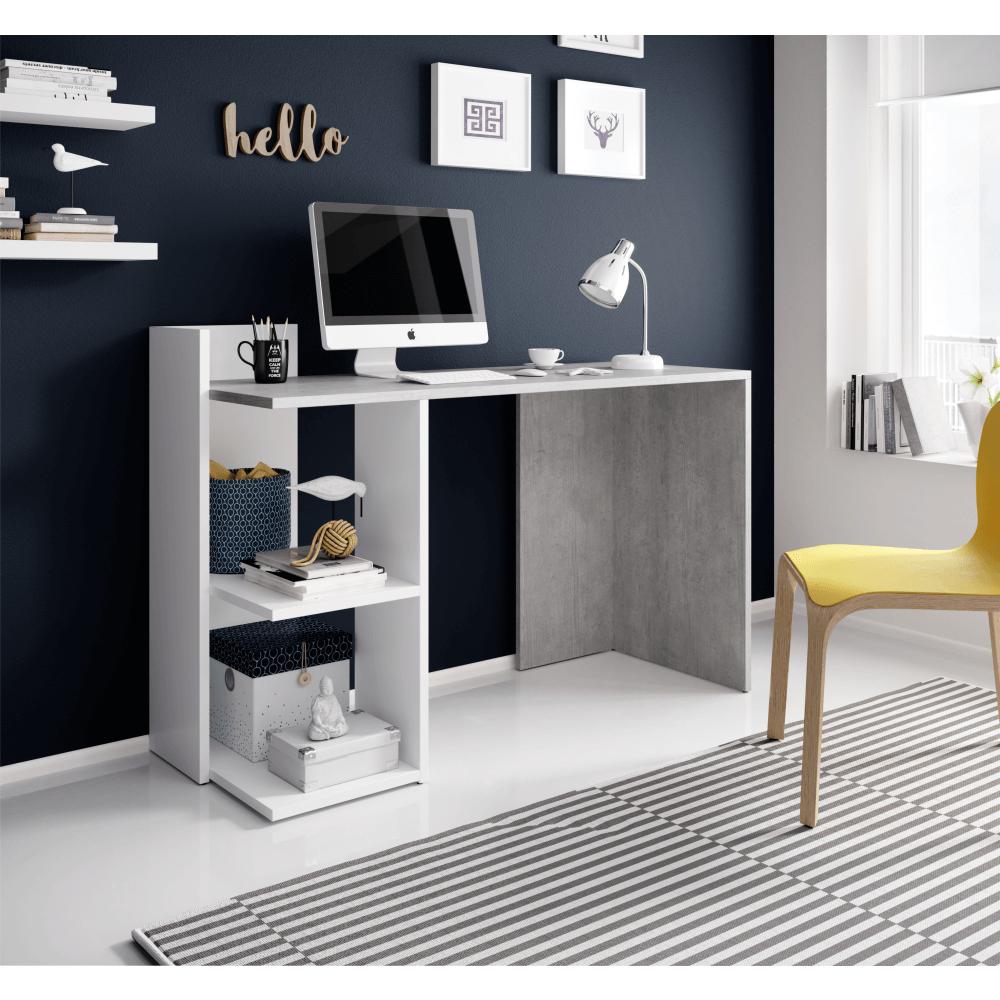 Masa PC, birou,beton/alb mat, ANDREO 2