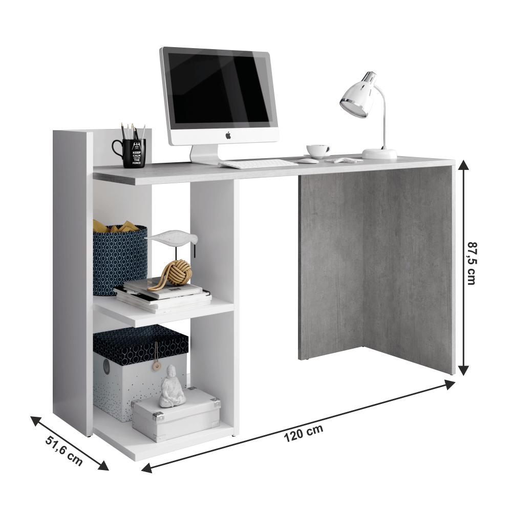 Masa PC, birou,beton/alb mat, ANDREO 1