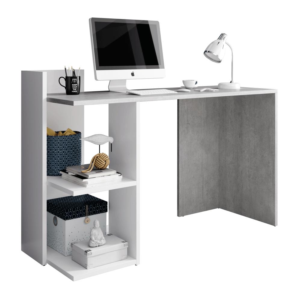 PC stůl, beton/bílý mat, ANDREO, TEMPO KONDELA