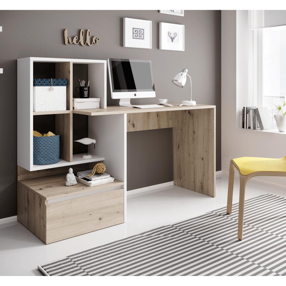 Masa PC, birou,stejar artisan/alb mat, NEREO 2