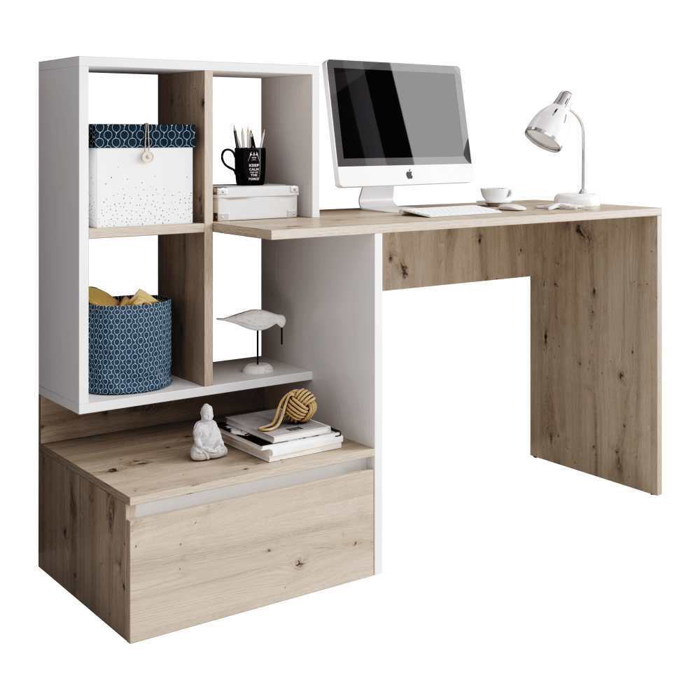 PC stůl, dub artisan/bílý mat, NEREO