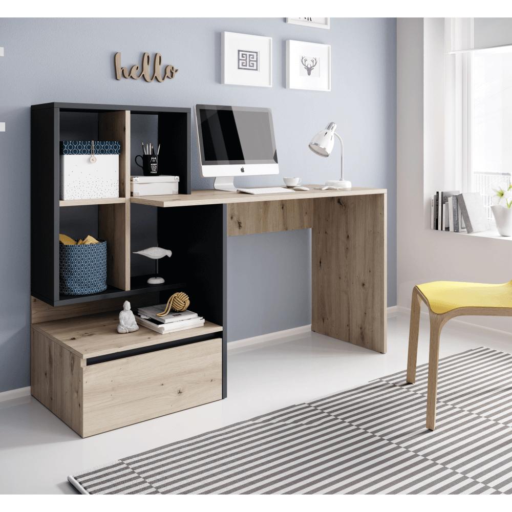 Masa PC,birou, stejar artisan/grafit, NEREO 2