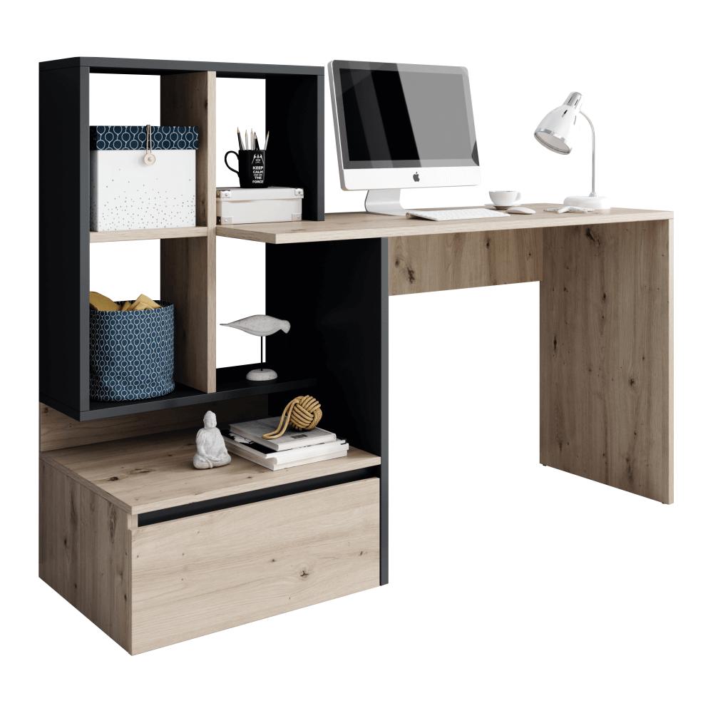 PC stôl, dub artisan/grafit-antracit, NEREO, rozbalený tovar