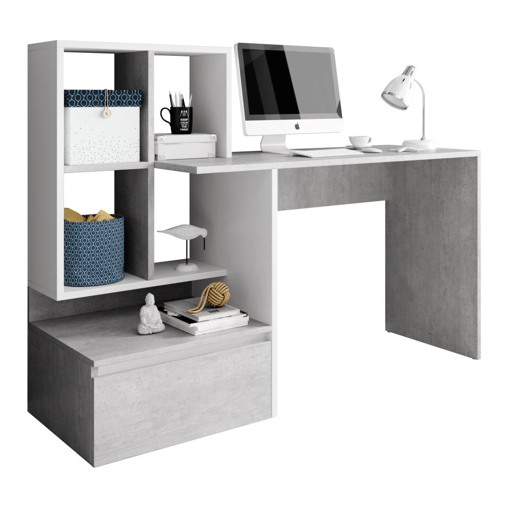 PC stôl, betón/biely mat, NEREO