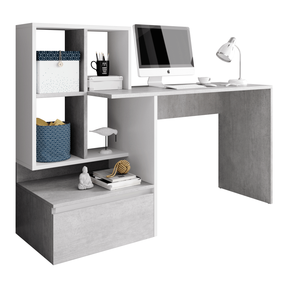 PC stůl, beton/bílý mat, NEREO, TEMPO KONDELA