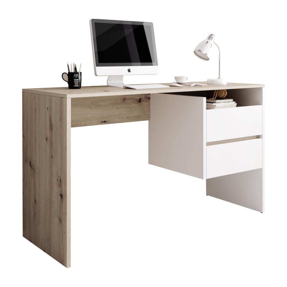 PC stôl, dub artisan/biely mat, TULIO