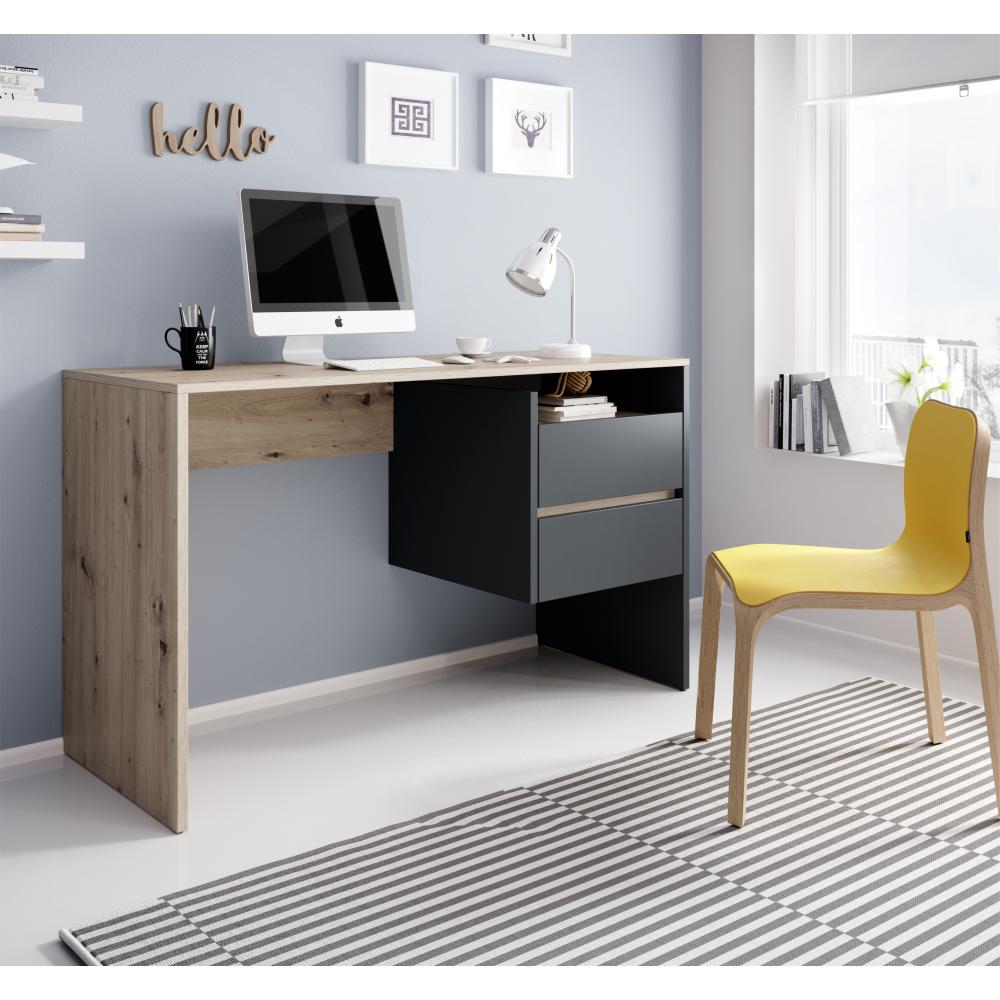 Masa PC, birou,stejar artisan/grafit, TULIO 1