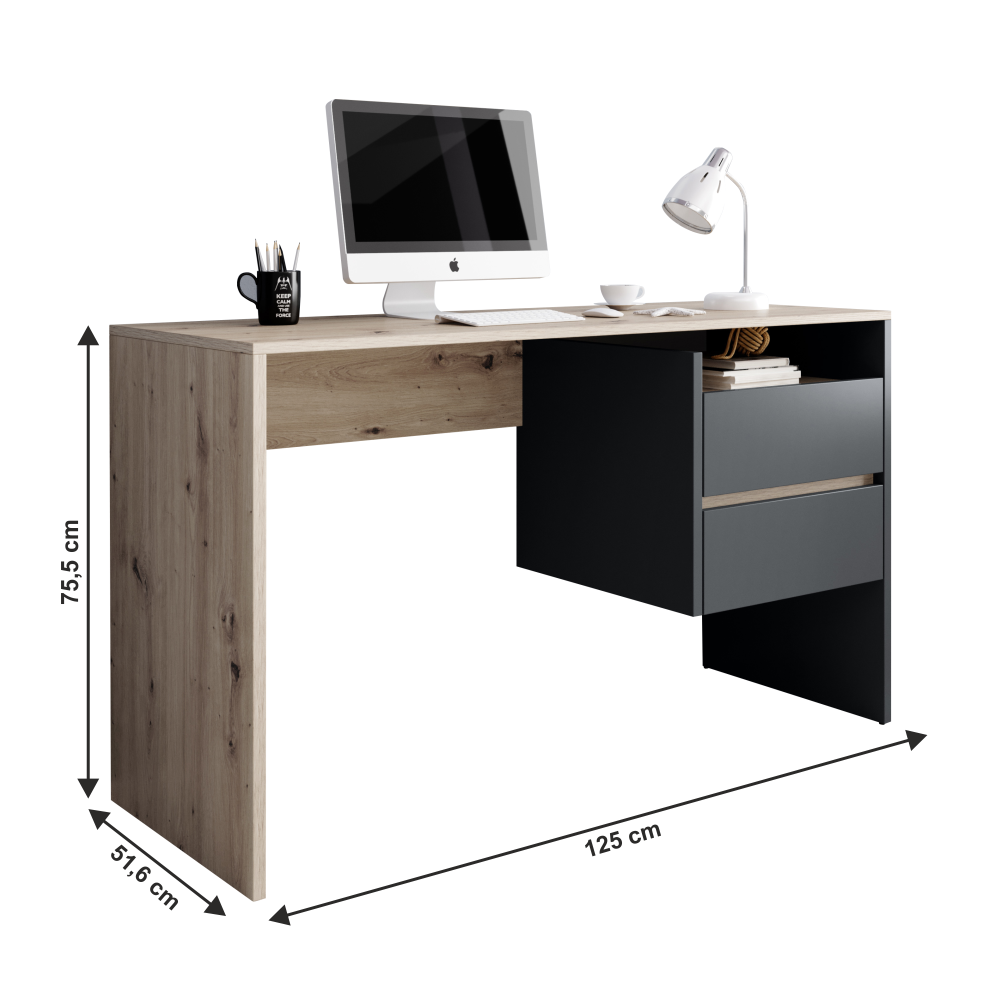 Masa PC, birou,stejar artisan/grafit, TULIO 2