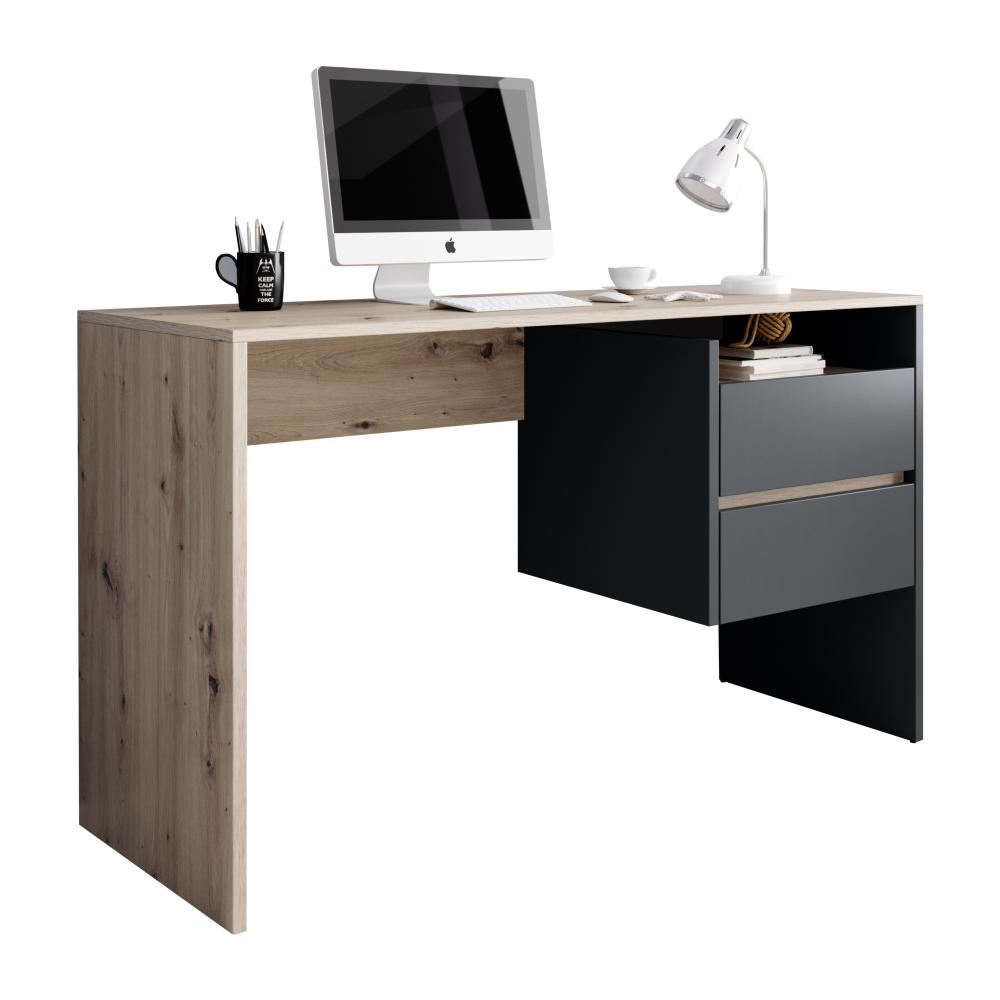 PC stůl, dub artisan/grafit-antracit, TULIO, TEMPO KONDELA