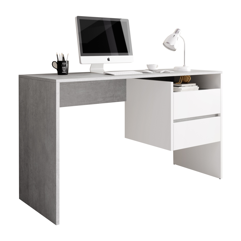 Masă PC, beton/alb mat, TULIO