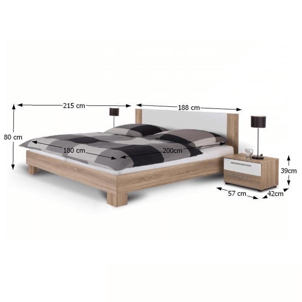 Ložnicový komplet (skříň, postel a 2 noční stolky), dub sonoma / bílá, MARTINA, TEMPO KONDELA