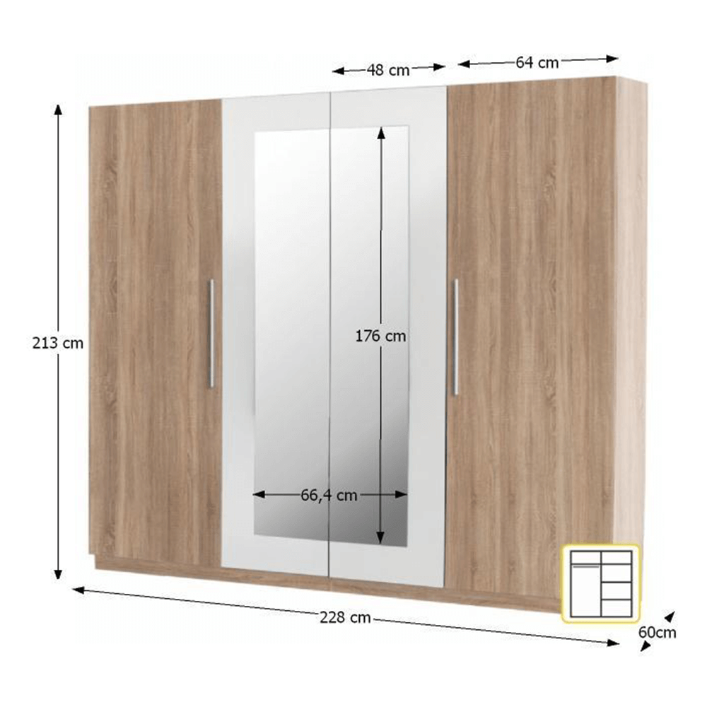 Čtyřdveřová skříň, zrcadlová, dub sonoma / bílá, MARTINA, TEMPO KONDELA