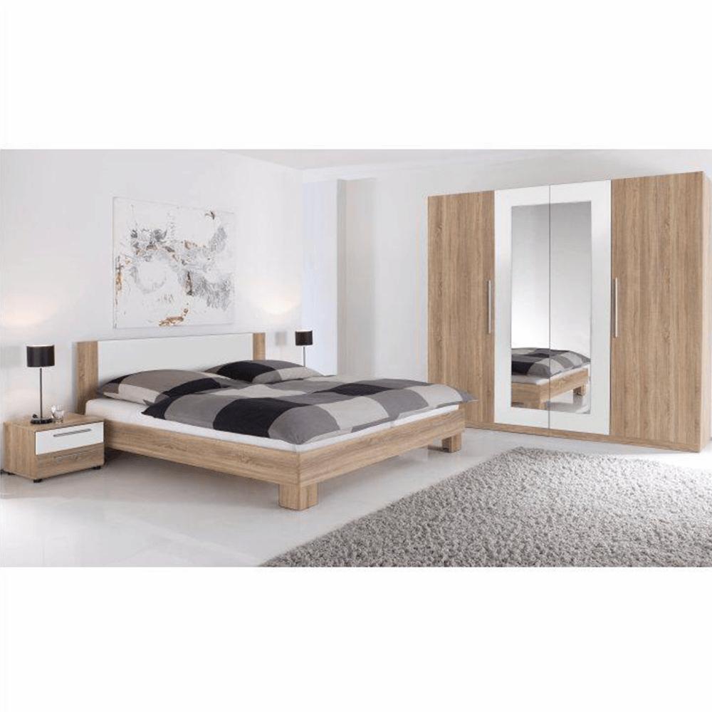 Manželská postel, s 2 nočními stolky, dub sonoma / bílá, 180x200, MARTINA, TEMPO KONDELA