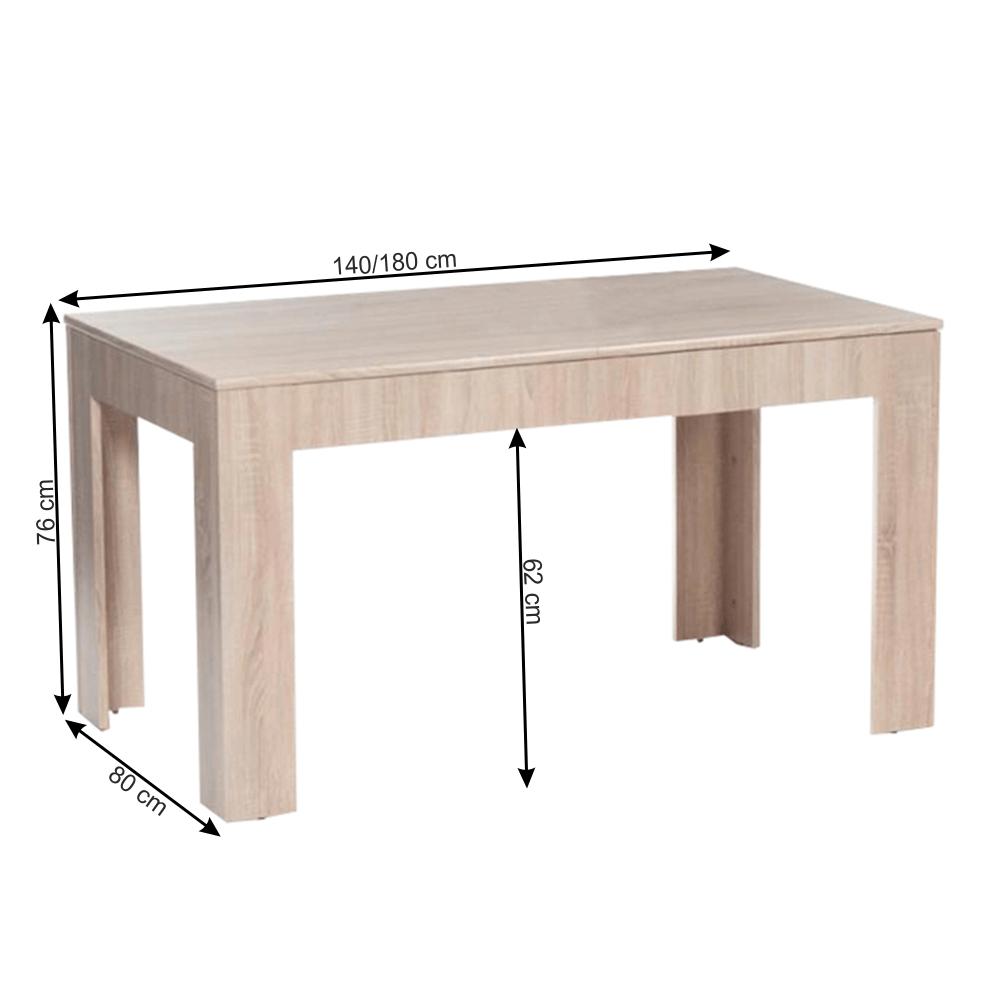 Étkezőasztal összecsukható, sonoma tölgyfa, 140/180x80 cm, ADMIRAL