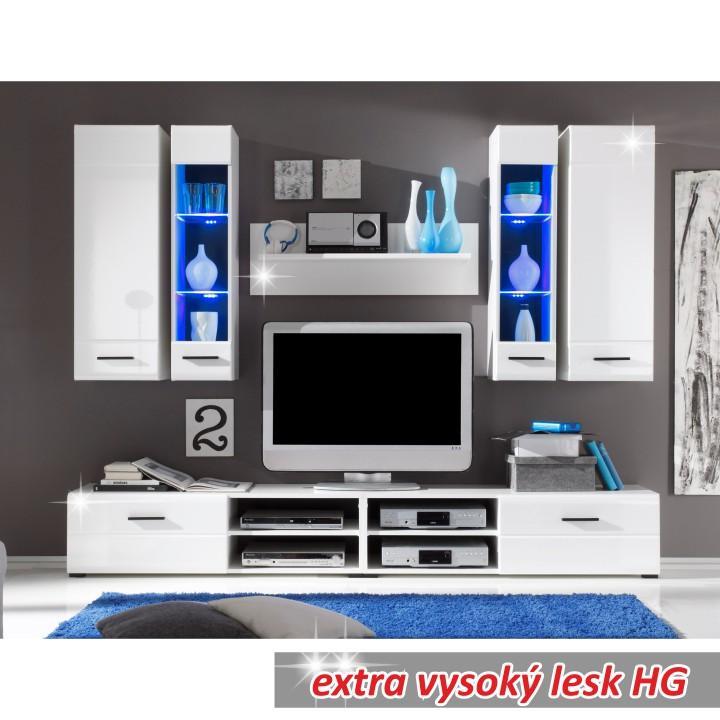 Obývacia stena, LED s osvetlením, sklo/biela extra vysoký lesk HG, FORSE
