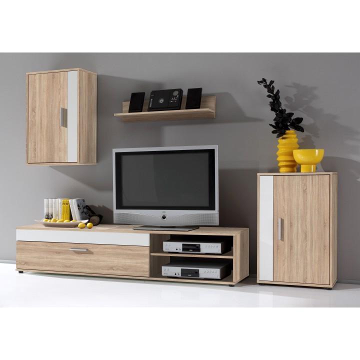 Obývacia stena, biela/dub sonoma, ASOLE, rozbalený tovar