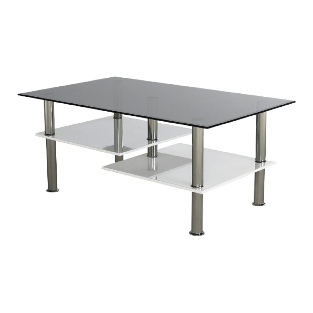 Konferenční stolek, bílá extra vysoký lesk HG / sklo, SVEN, TEMPO KONDELA