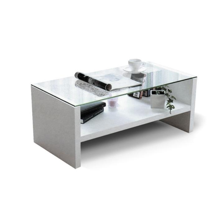Dohányzóasztal, fehér + áttetsző edzett üveg, TIBER