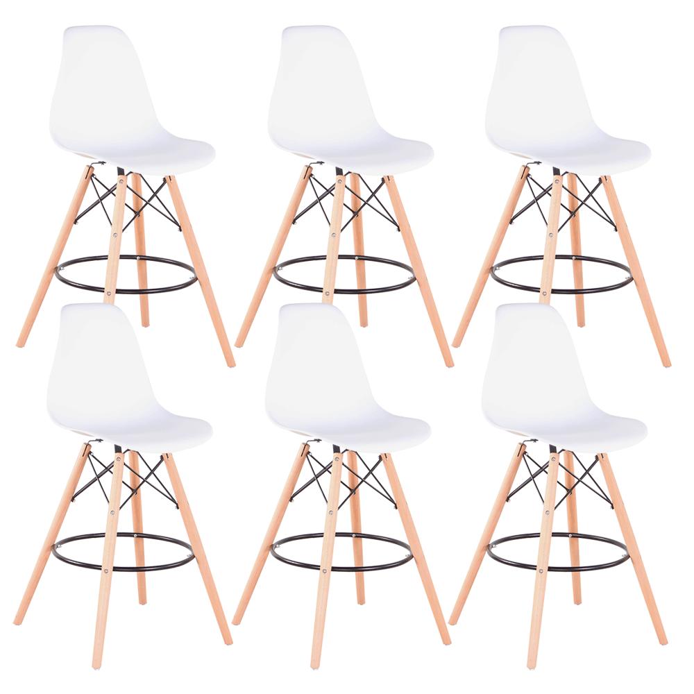Set 6 buc scaun de bar, alb/fag, CARBRY 2 NEW 0